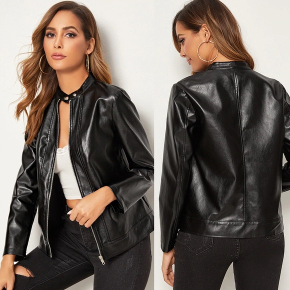 Jackets & Blazers - vegan leather moto jacket black 807828